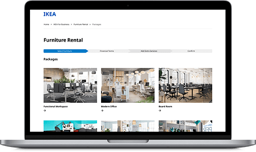 Preview of the IKEA furniture rental website