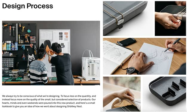 Screen shots of Orbitkey's product design process